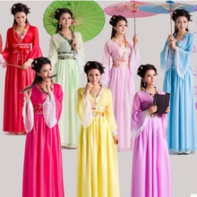Chinese Traditional Women Hanfu Dress Fairy Red White Clothing Tang Dynasty Ancient Costume