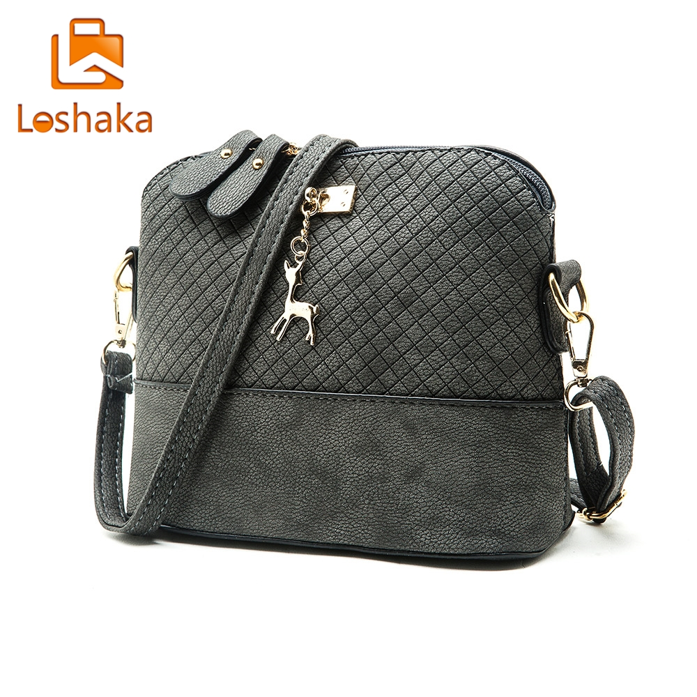 Loshaka Women Messenger Bags Fashion Mini Bag With Deer Appliques Shell Shape Bag PU Leather Female Shoulder Bags Casual Handbag fashion women mini messenger bag pu leather shell shape bag crossbody shoulder bags with deer toy popular