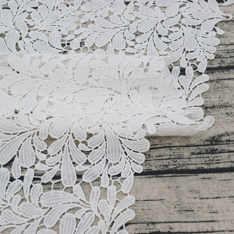 2018 the white embroidered water soluble lace fabric for dress telas por metros tissu au metre tecido tela shabby chic tissus