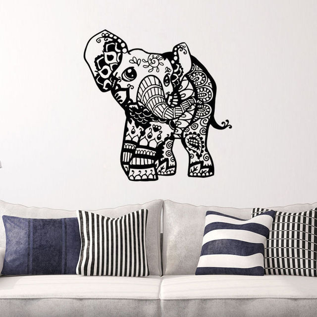 Indian Elephant Vinyl Wall Sticker Ganesha Removable Wall Decals For  Bedroom Art Decor Free Shipping Wallpaper
