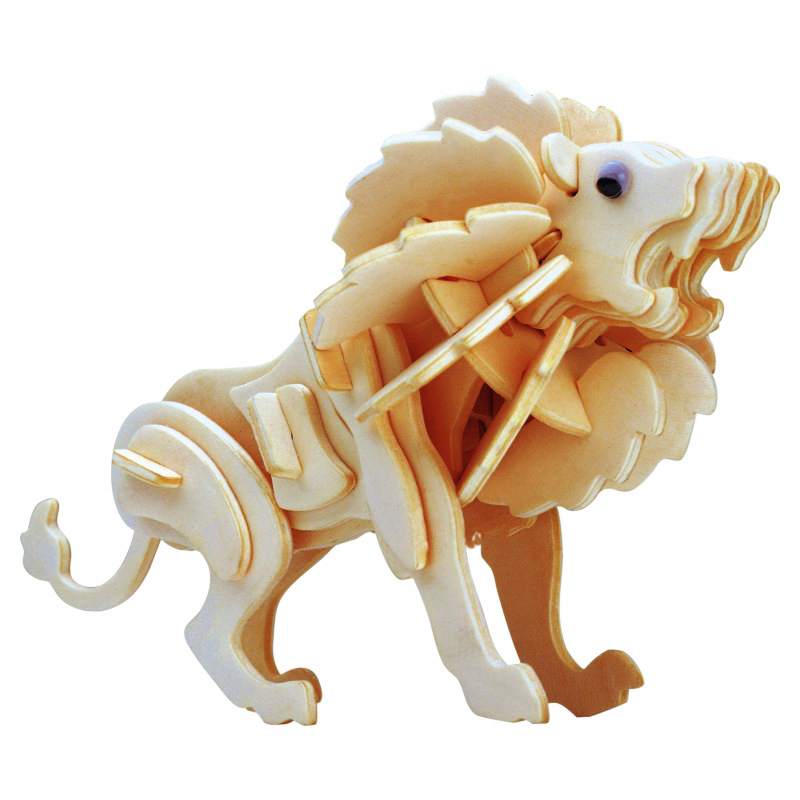Kids Toy Of 3D Wooden Puzzle For Children Lion The King Of The Prairie Quality Montessori Educationaly Toy As A Good Hobby Gift