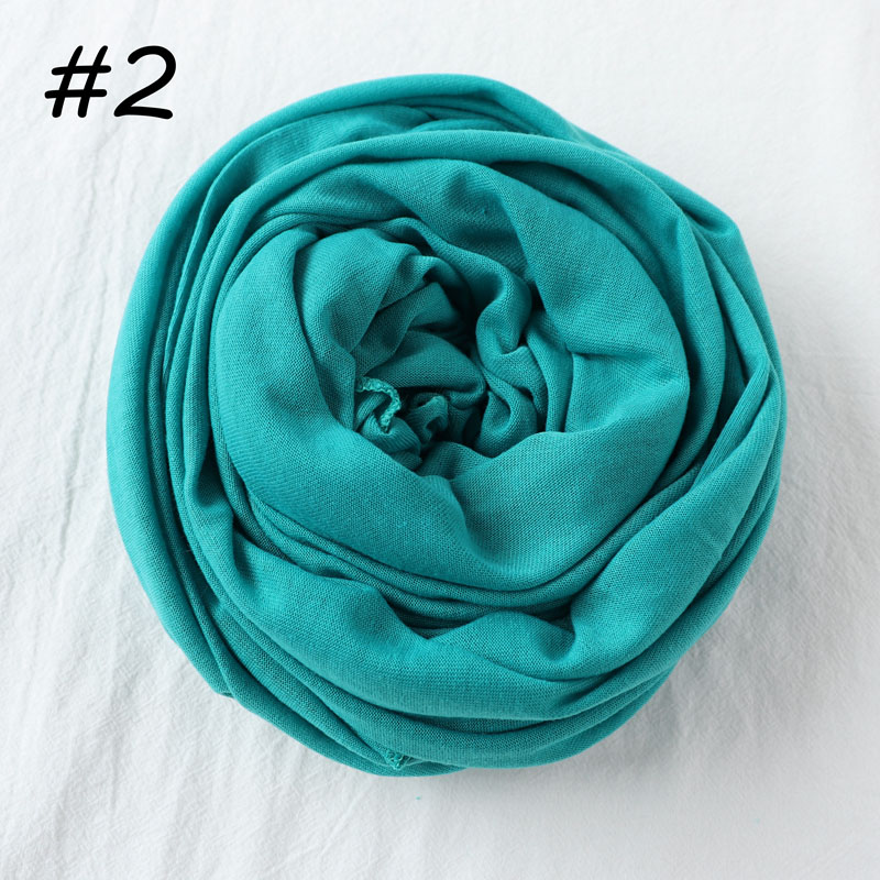 Один кусок Хиджаб Женский вискозный Джерси-шарф Мусульманский Исламский сплошной простой Джерси хиджабы Макси шарфы мягкие шали 70x160 см - Цвет: 2 turquoise
