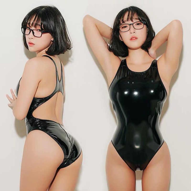 Lunamy 2019 сексуальные леотарды PU черный глянцевый боди костюм с высоким вырезом цельные купальники для женщин блестящие купальные костюмы купальник