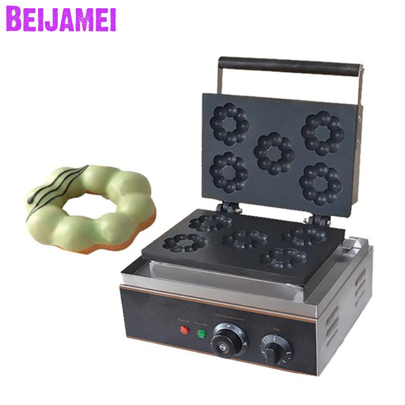 BEIJAMEI Stainless Steel Electric Flower Donut Waffle Maker Machine/ Commercial Small Plum Blossom Cake Maker