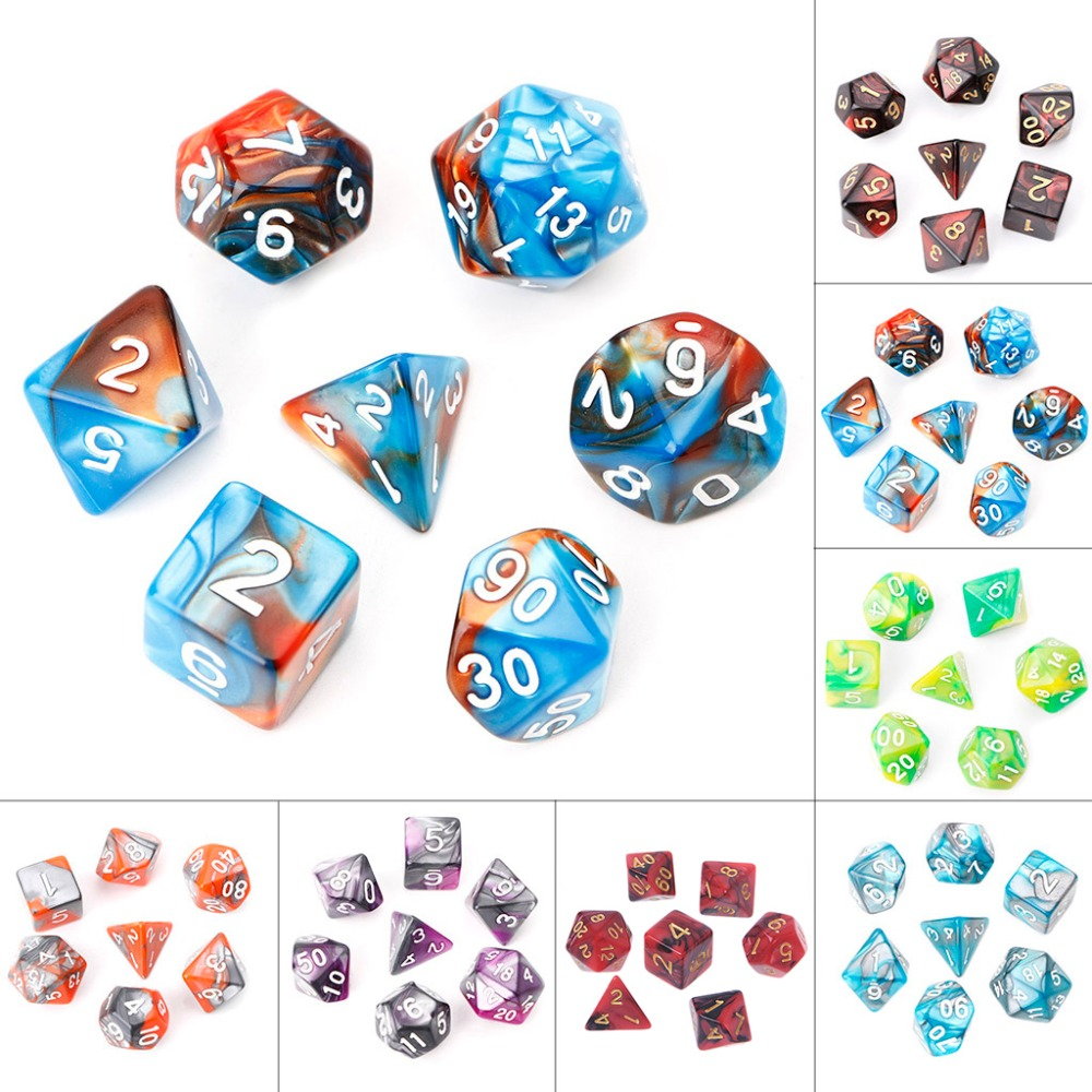 7pcs One Set Acrylic Polyhedral Dice for Board Game Dungeons And Dragons D4-D20 Multifaceted Digital Dices ...