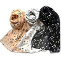 2017 Women Fashion Musical Note Chiffon Neck Scarf Shawl Scarves Long Beauty Women's Scarf