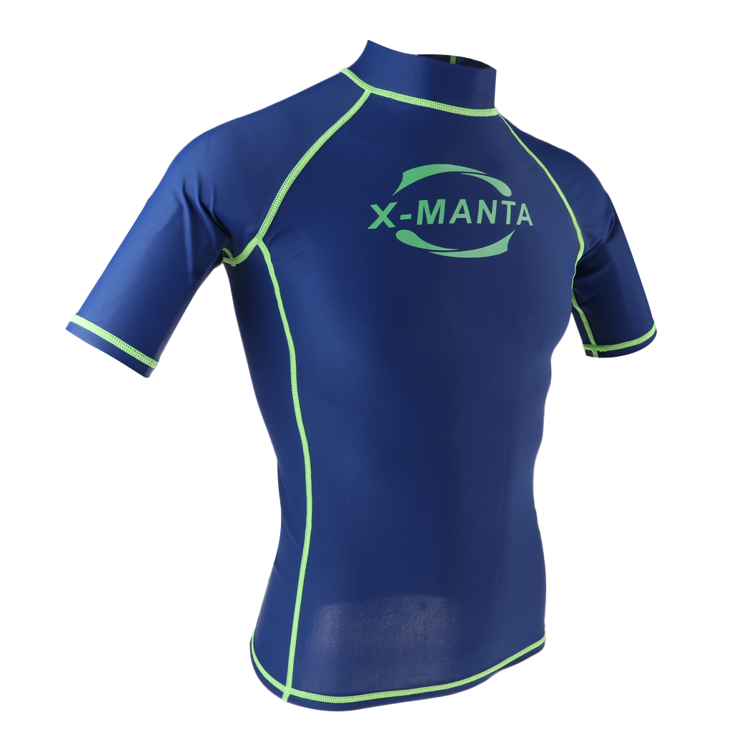 Men 39 s rash vest short sleeve rashguard swim base layer snorkeling swimming surfing tops diving for Rash after swimming in pool pictures