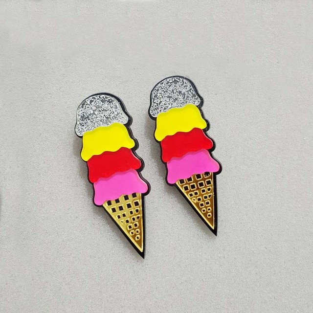 Night Club Jewelry Accessories Fashion Acrylic Punk Multi-color Ice Cream  Stud Earrings For Women Hip Hop 3923d2381