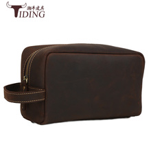 cosmetic bags cow leather man 2017 new fashion brown big  business trip casual travel water proof bag genuine