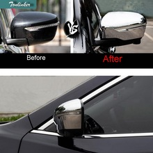 Tonlinker 2 PCS DIY Car Styling ABS Chrome Rearview mirrors brightly framed Cover Case Stickers for Nissan X-Trail 2014