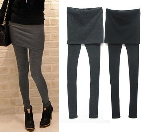 NEW Plus Size Womens Black Legging Mini Skirt Attached Fashion Comfort High Elasticity 3 Colors ...