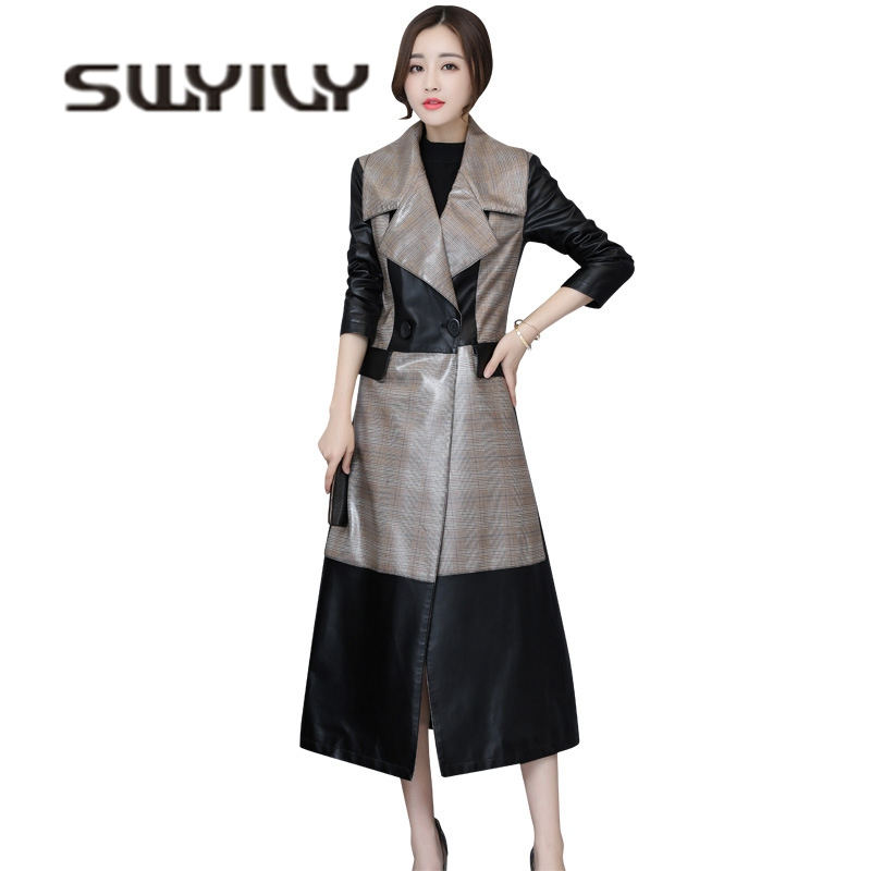 SWYIVY 5XL Large Size   Leather   Trench Coat Woman 2018 Autumn Plaid Fashion Female Outwear Coats Long Slim Sexy   Leather   Trench 4XL