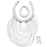 Gorgeous White African Bib Necklace Set Bride Bridesmaid Party Events Jewelry Set African Wedding Free Shipping WDK 009