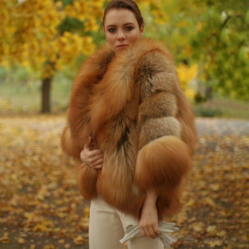 2019 Women's Real Red Fox Fur Coat Winter Luxury WholeSkin Thick Fox Fur Jackets Bat Sleeved Poncho Female Natural Fur Coats