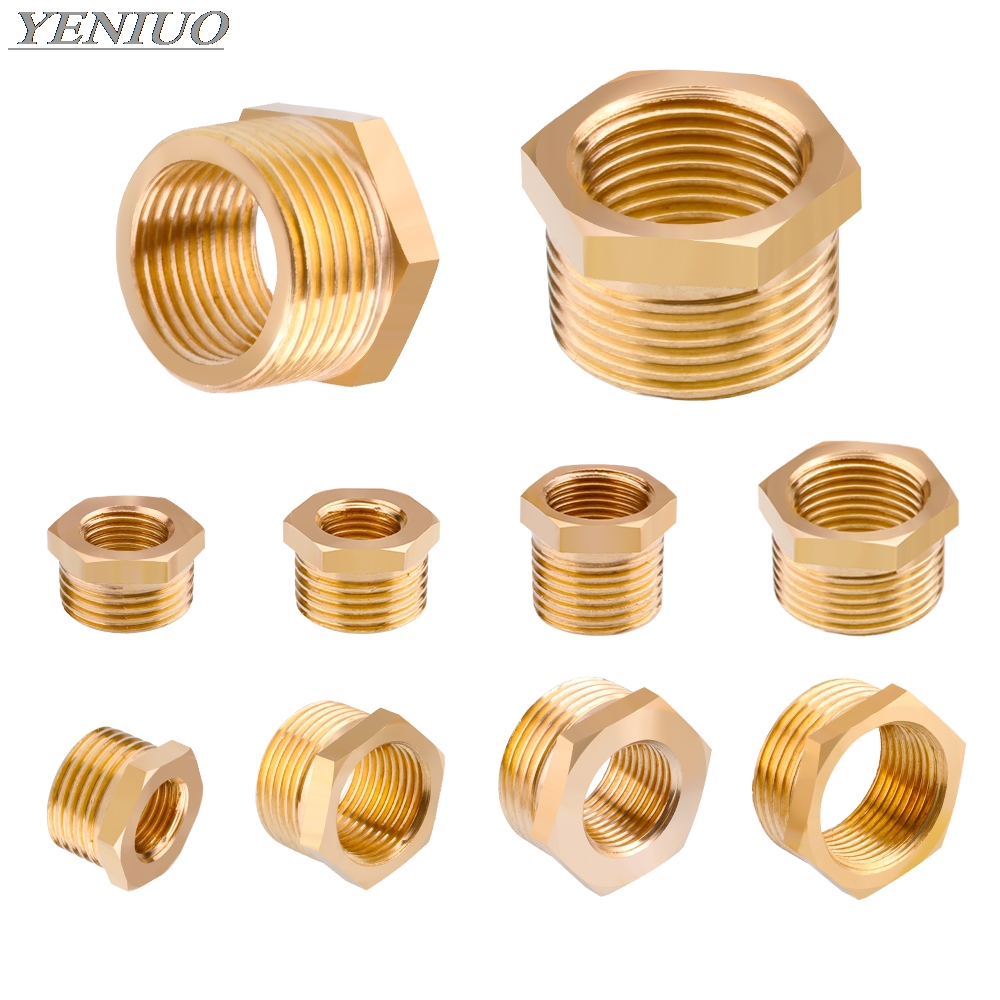 """Air Pneumatic Pipe 1/"""" to 1//2/"""" M//M Brass Reducing Nipple Coupler Adapter"""