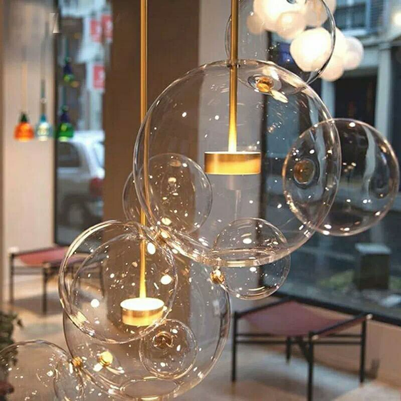 Nordic Italy Designer Creative Soap Bubble Pendant Lamp for Living Room dining room bar led Glass Chandelier AC85-265v N1360 45 head nordic creative circle dia 95cm led chandelier light round bubble glass lampshade villa g4 lamp 3w ac220v free shipping