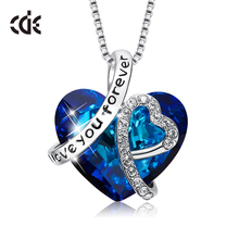 CDE 925 Sterling Silver Necklace Embellished with crystals Blue Heart Pendant Collar Mom Gifts
