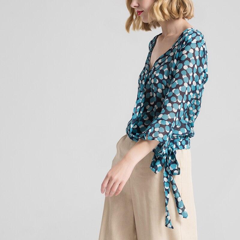 Femmes Blouse 100% vrais points de soie imprimé papillon à manches mode Blouses transparentes 2018 printemps été nouvelle chemise haute bleu-in Blouses & Chemises from Mode Femme et Accessoires    3