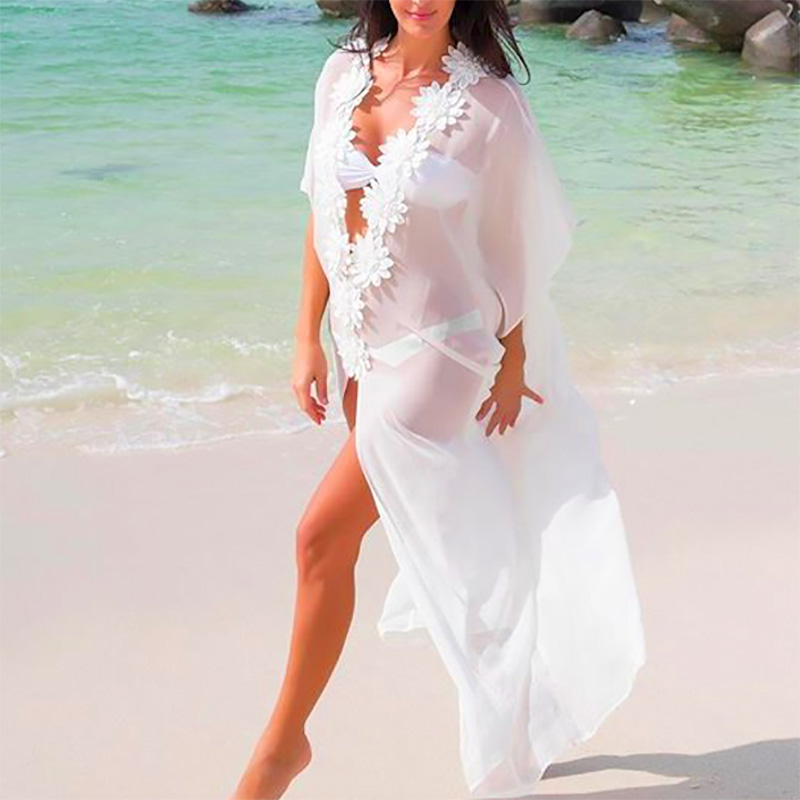 f745683805 Honeymoon Dress Beach Cover up Dress Lace Beach Tunic Pareos Swimwear Women  2019 Bikini cover up Chiffon Swimsuit Cover up-in Cover-Ups from Sports ...