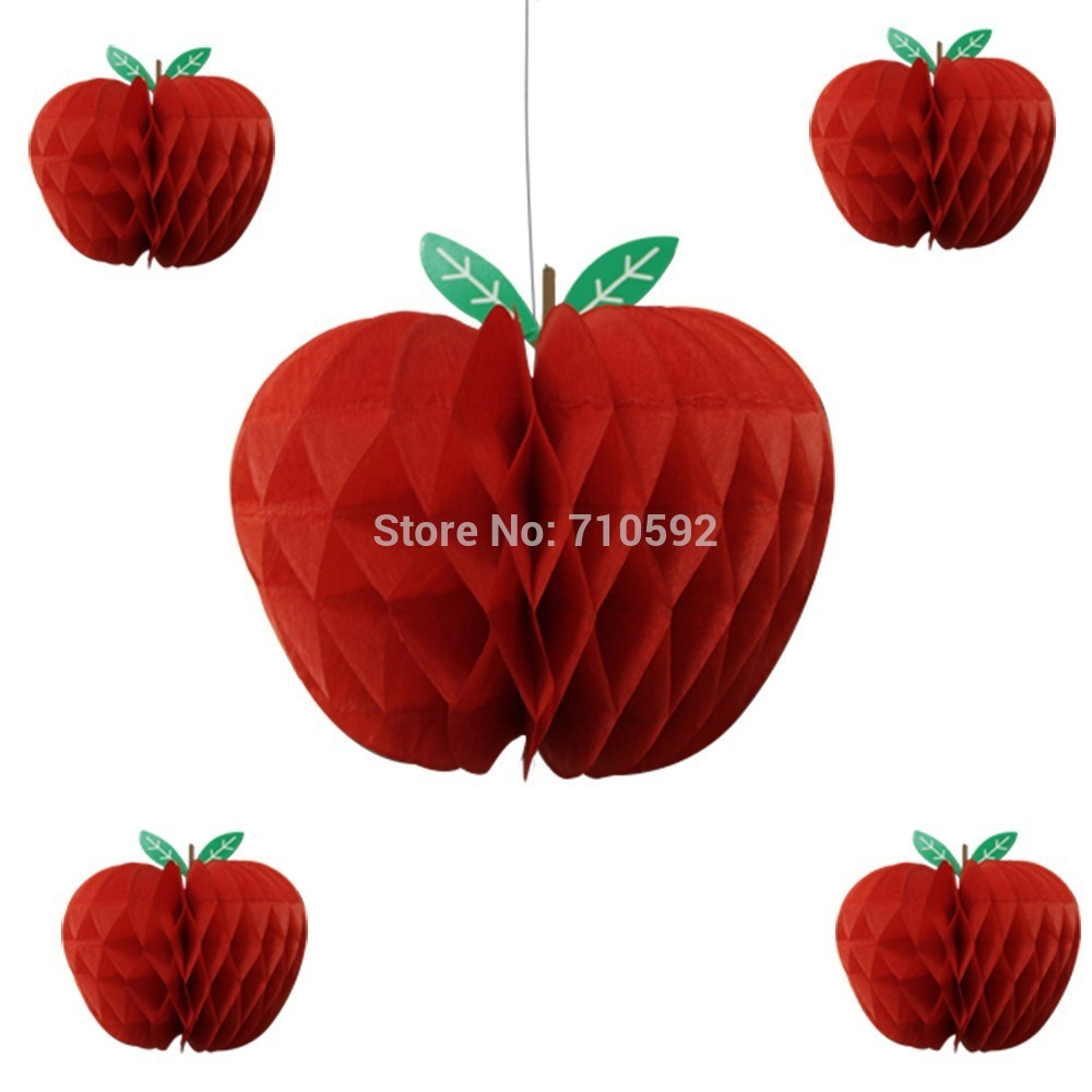 10pcs Red Apple Shape Honeycombs Decorations Tissue Paper Fruit Hanging Apple Themed Party Supplies in Party DIY Decorations from Home Garden
