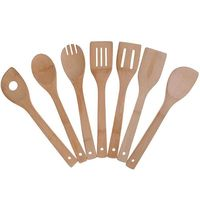 Bamboo Cooking Utensils Set  7 Pack Kitchen Tools Wooden Spoons and Spatula 11.8 Inch  Best for Non Sticky Pans and Cookware|Cooking Tool Sets| |  -