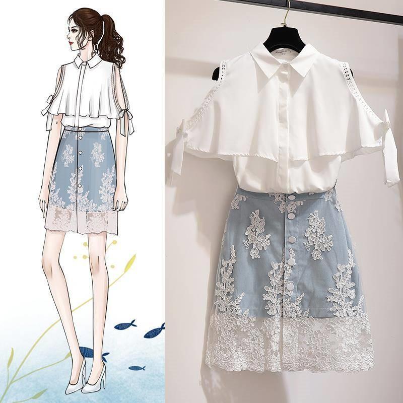 2 Piece Set 2019 Summer Women's Ruffle Strapless T-shirt +Lace Stitching Skirt Sets Women Fashion Elegant Chic Skirts Suits J35