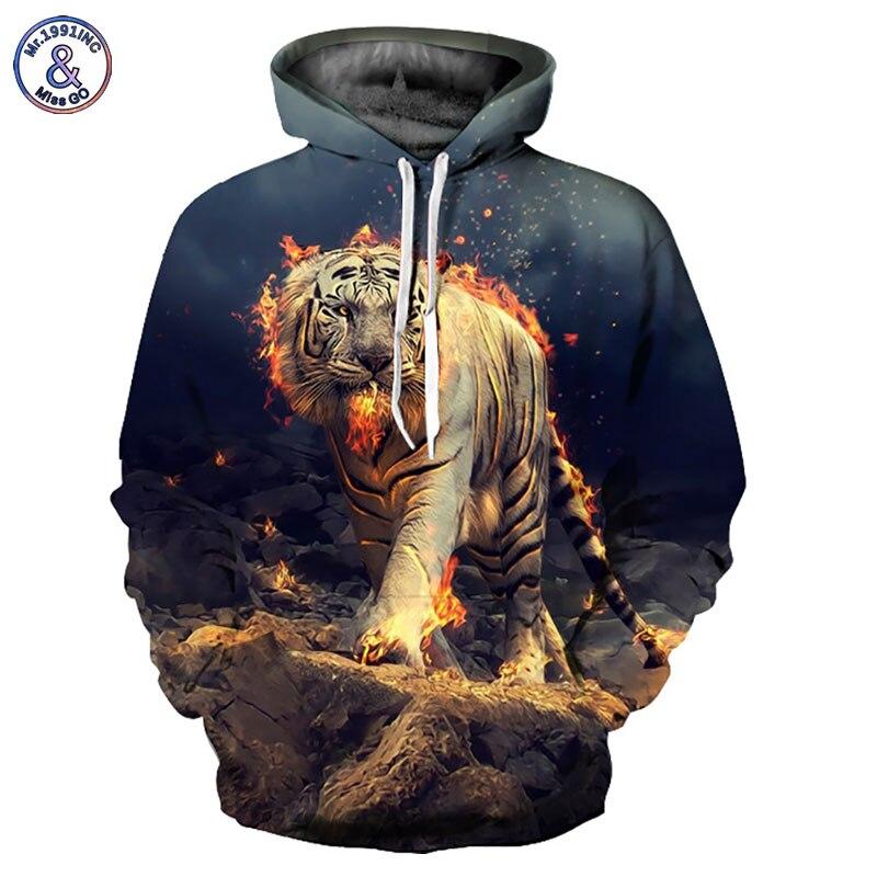 Mr.1991inc Новая мода 3D Толстовки Для мужчин/Для женщин кофты 3D принт Огненный Тигр тонкий Толстовки с капюшоном cool Топы корректирующие yxql274