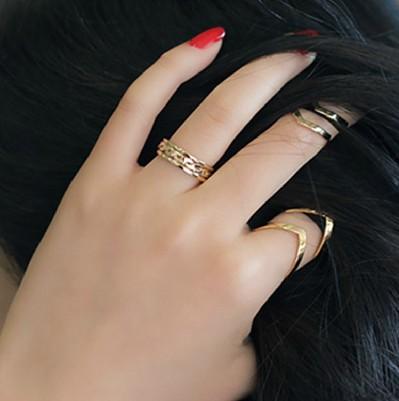 HTB1z7wcHpXXXXXLXXXXq6xXFXXXU 3-Pieces Dazzling Gold Adjustable Cuff Finger Ring Gift Set For Women