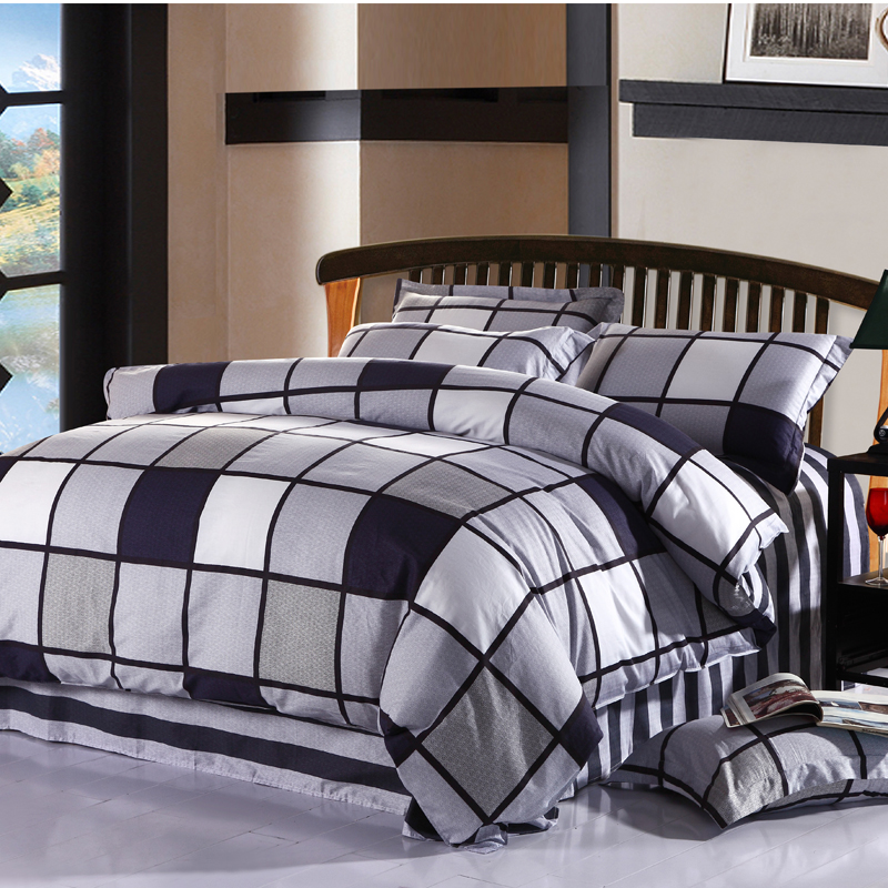 100 cotton 4pcs king queen full twin size black white for Twin size beds for boys