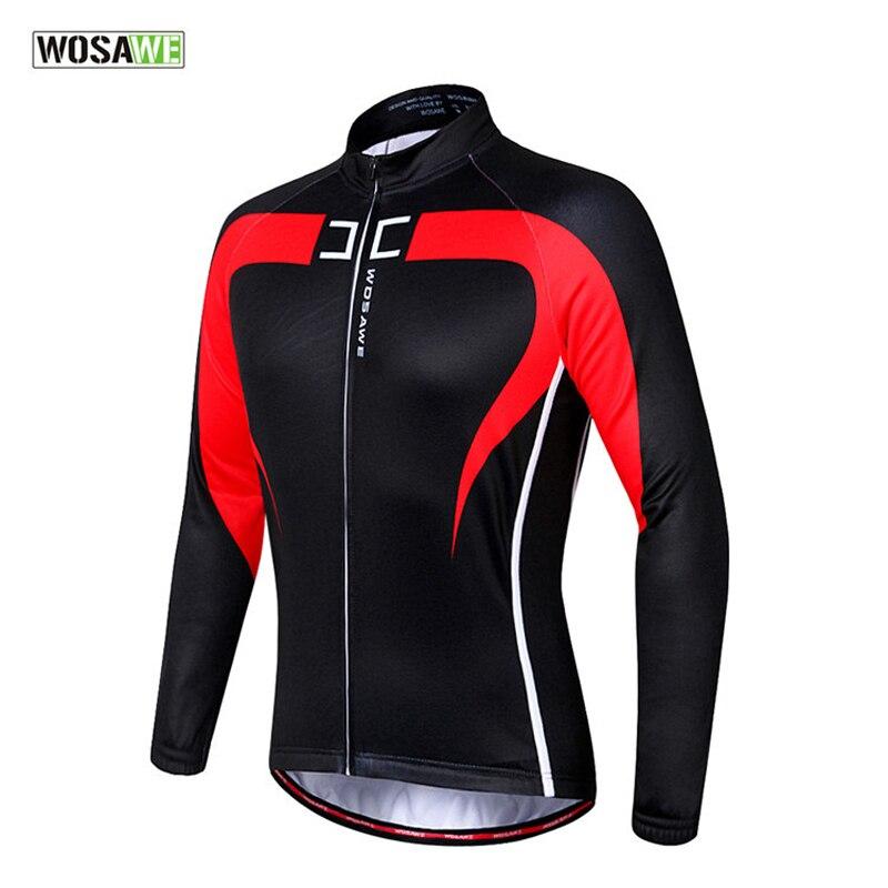 WOSAWE Autumn Winter Cycling Jacket Thermal Fleece MTB Mountain Road Bicycle Clothing Bike Riding Full Long Sleeve Jersey