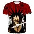 Новая Мода Аниме футболки Женщины Мужчины Hipster 3D футболка BLEACH Персонажи Kenpachi Zaraki Печатает футболки Harajuku Футболки