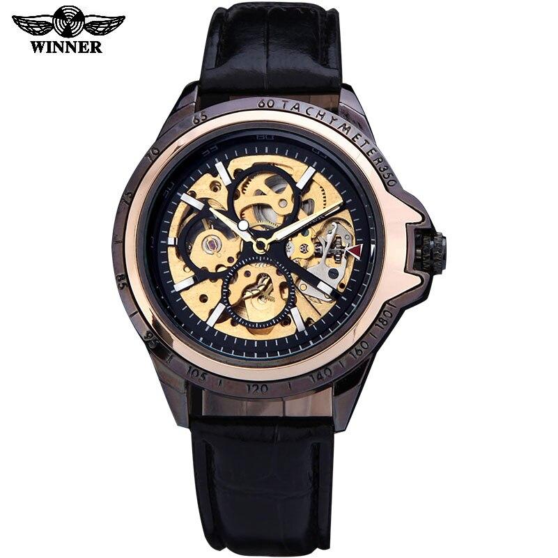 watches men luxury brand fashion casual  skeleton wristwatches automatic wind mechanical watch leather strap relogio masculino 機械 式 腕時計 スケルトン