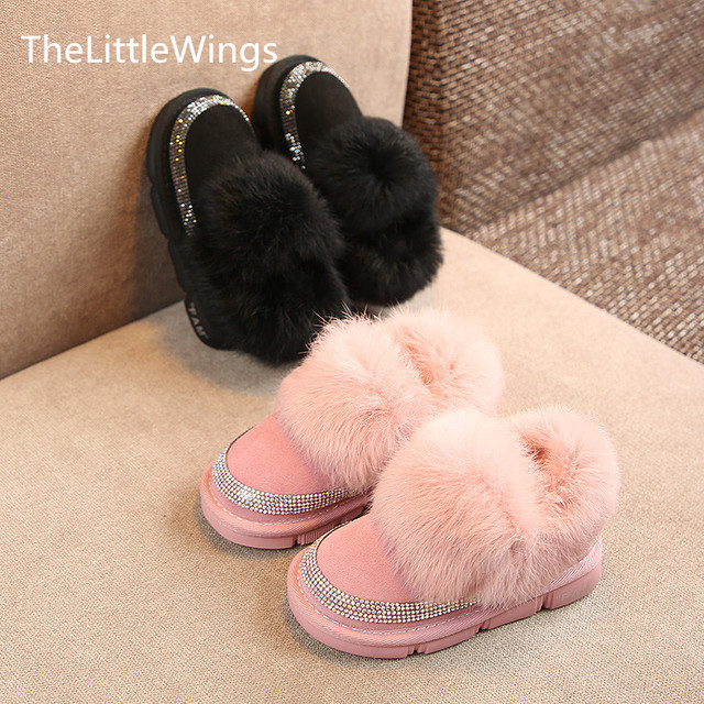 2018 winter new kid shoes girls Non-slip Fashion Keep warm genuine leather Rabbit's hair snow boots Super soft and comforta gift Girl's Shoes