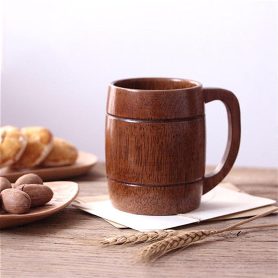 Японская креативная кофейная чашка из натурального дерева, кружка для воды, красивая кружка для пива, простая Экологичная деревянная чашка,