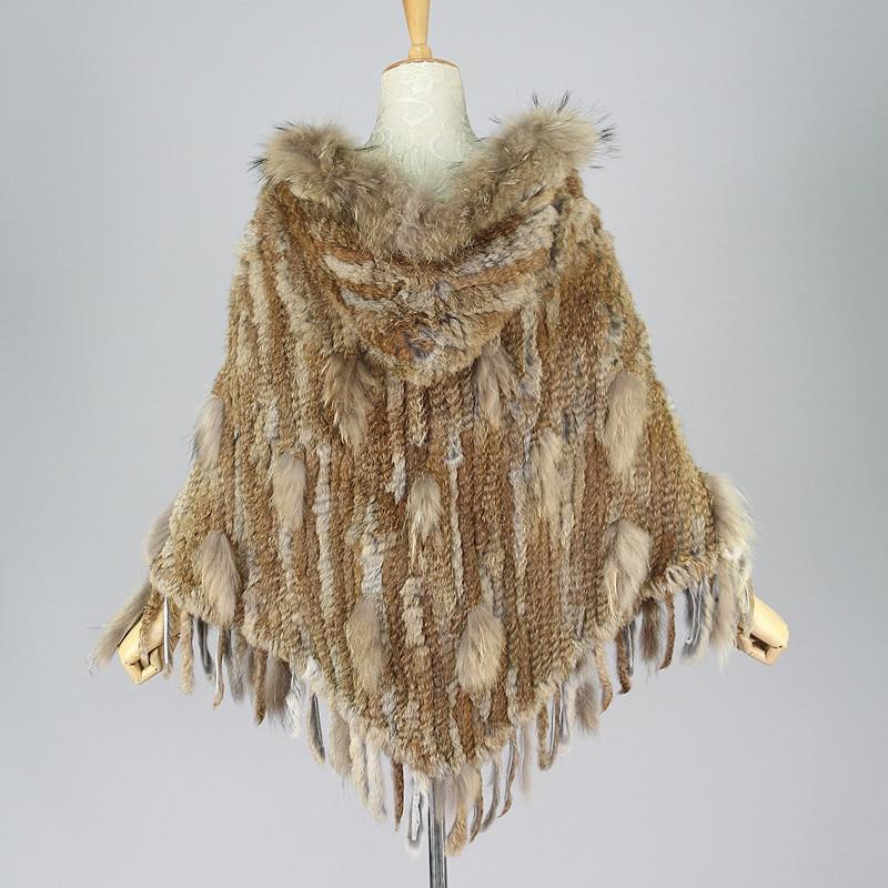 Трикотажные истинная природа коричневый мех кролика пончо с капюшоном из меха енота шаль Wrap меховая верхняя одежда в полоску пальто пончо с...