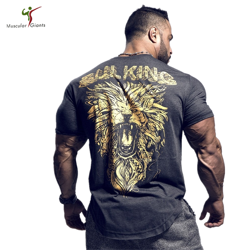 2018 Men's summer t-shirt Locomotive wear Full back printing gold Lion Tough guy muscle GYMS clothing O-neck cotton Short sleeve