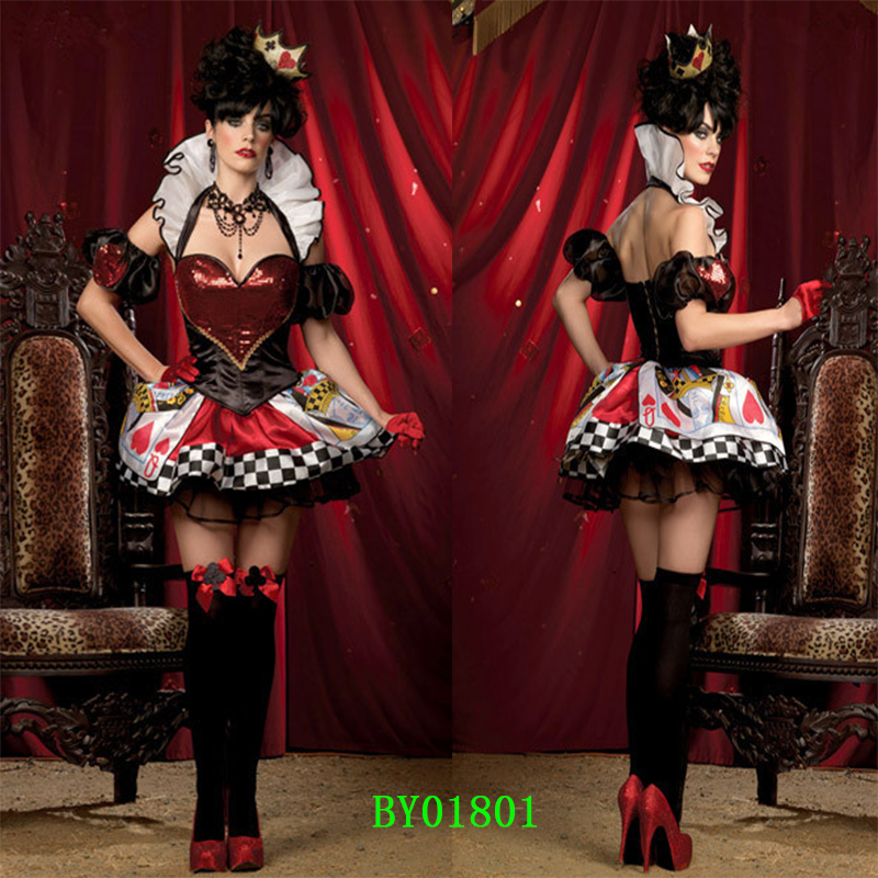 Halloween Alice Queen Dresses Red Heart  Poker Queen Cosplay Stage Costumes Sexy Nobility Party Dress 6 Styles Optional One Size
