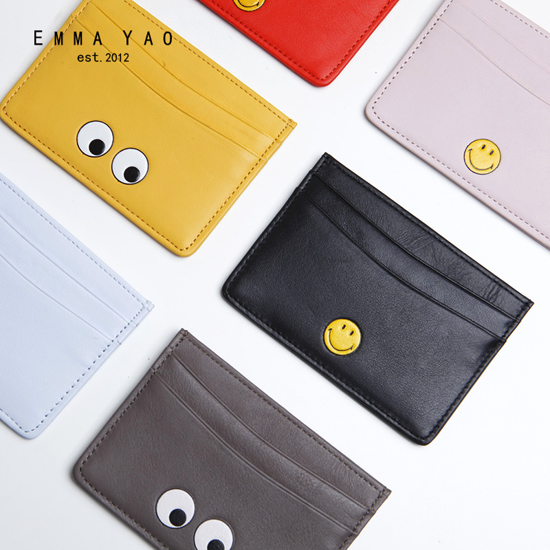 EMMA YAO Women's Leather Card Holder Fashion Wallet Card Holder Brand Wallet Female
