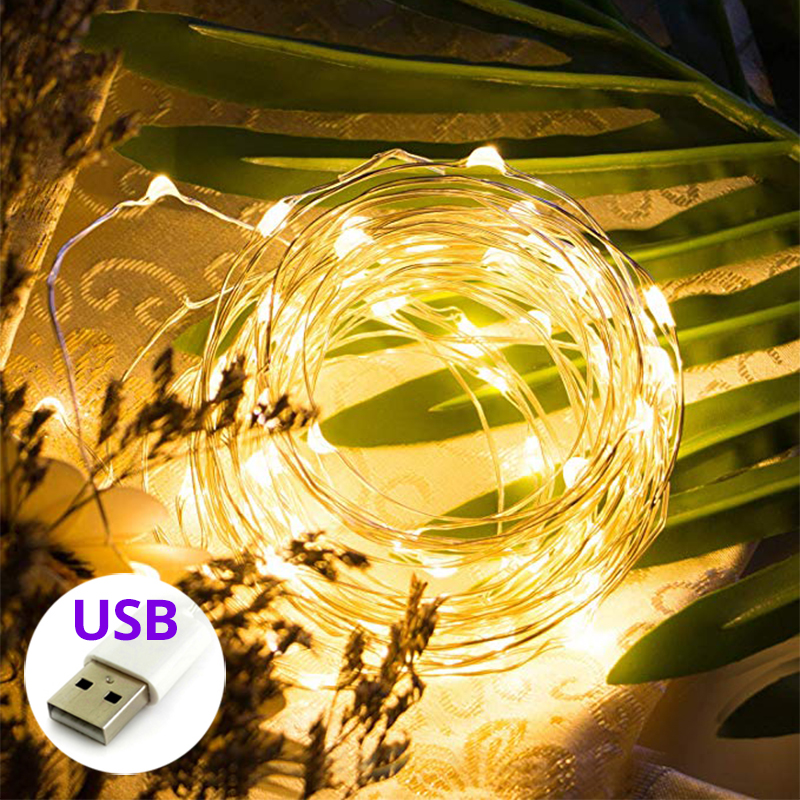10M 100 LED Christmas Lights USB Or Battery Power Fairy Garland Light String Indoor And Outdoor Holiday String Lights Decoration