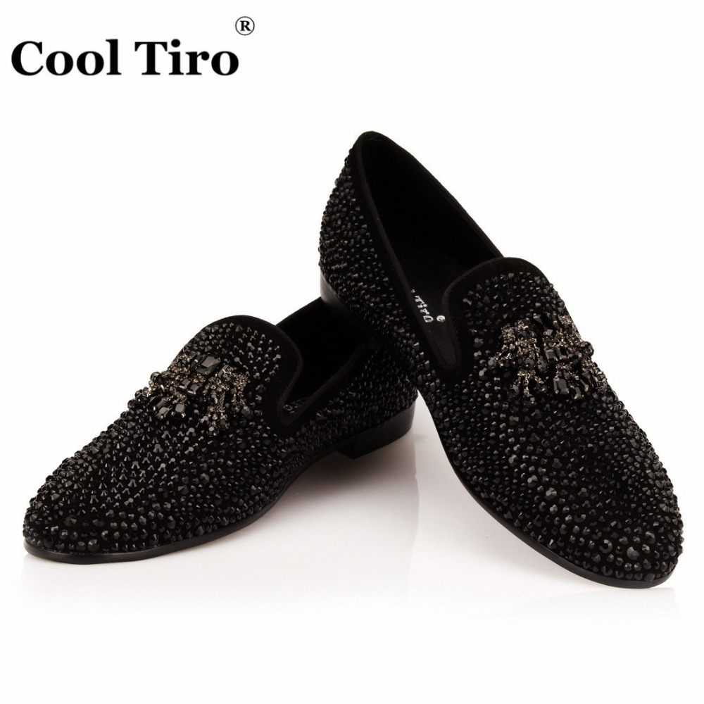 COOL TIRO Black Strass Men Loafers Crystals Tassel Dress Shoes Wedding Party Flat Moccasins Smoking Slippers