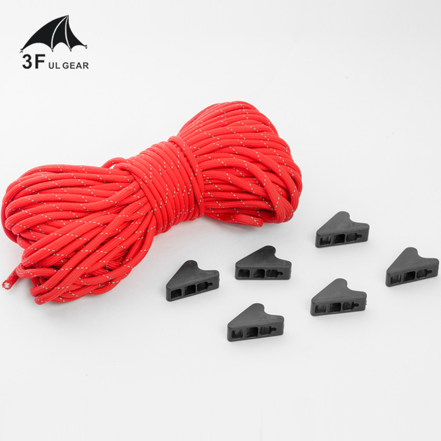 4 mm 20 meters 3F ul Gear diameter reflective camping tent guider rope with 6 free knots