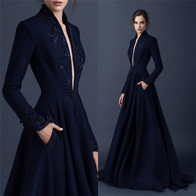 8f861aabe Custom Navy Blue Evning Dresses Embroidery Paolo Sebastian Dubai Abaya Long  Sleeve Weding Dress Formal Pagant Gowns Vestidos