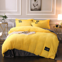 Warm Crystal Velvet Magic Velvet AB Modern Style Bed Set Duvet Cover Bed Sheet Pillowcases Yellow Lake Blue Pink Ruby