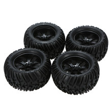 4Pcs High Quality Black Shock-proof and High Crush-resistant Wheel Rim and Tire for 1/10 Tamiya Kyosho Off-road RC Car(China)