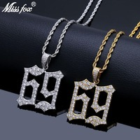 MISSFOX Hip Hop Rap Star Style Stable Number 69 Letter 24K Gold Plated Cubic Zirconia Iced Out Men's Statement Necklace Pendants