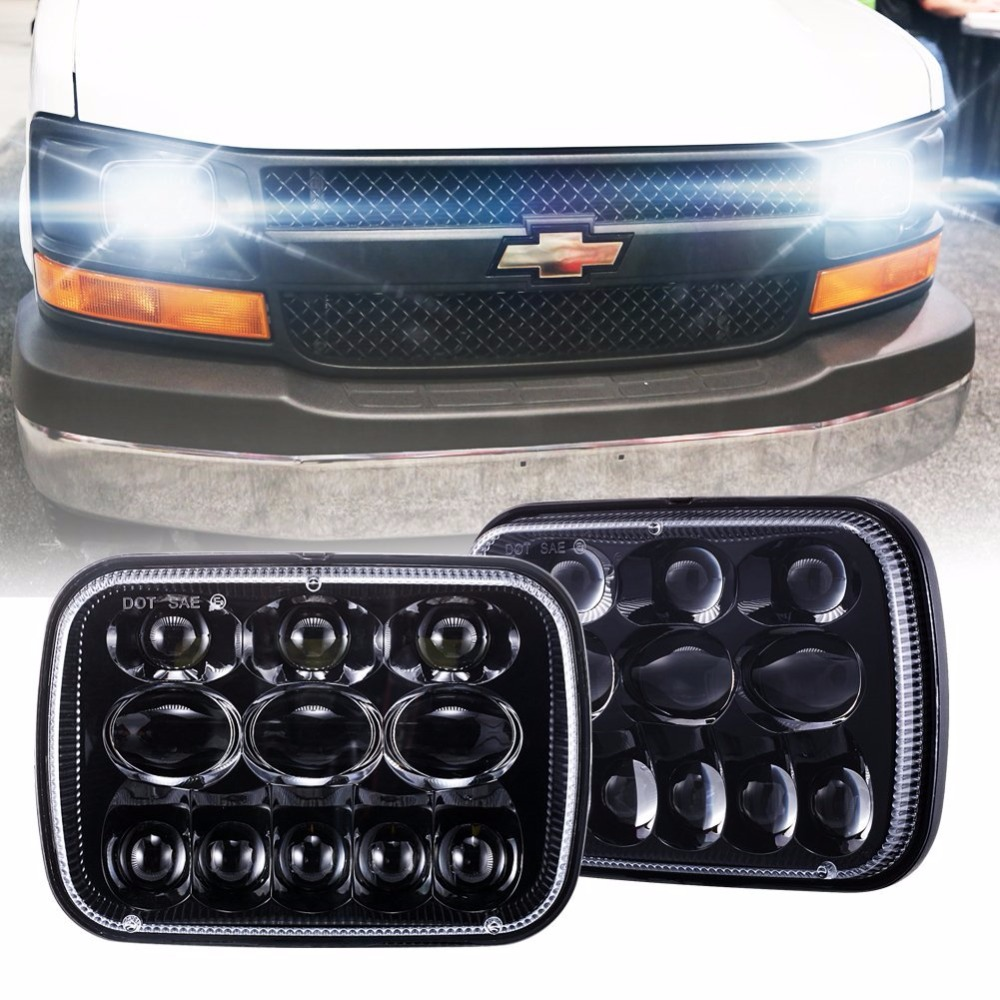 2 pcs 5X7 7X6 inch Rectangular Sealed Beam LED Headlight for H6014 H6052 H6054 H6052 LED Headlight