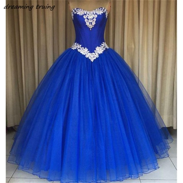 ecf0b9743 Royal Blue Ball Gowns Quinceanera Dresses Vestidos De 15 Anos Girls Sweet  16 Party Gowns Backless Sweetheart Prom Dress 2018