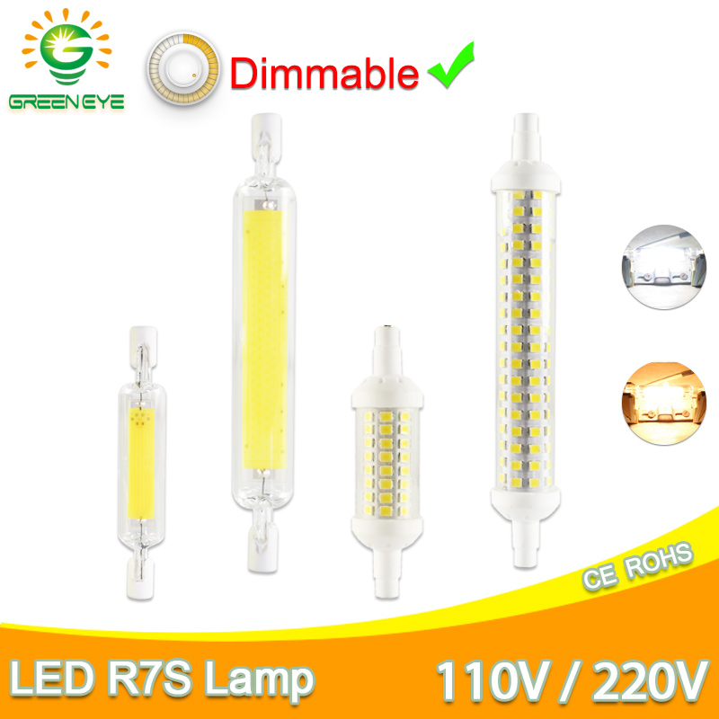 R7S Led Bulb Dimmable Led Lamp 6W 78mm 15W 118mm COB Glass Tube Replace Halogen 100W  J118 Floodlight Spot Light AC 110V 220V