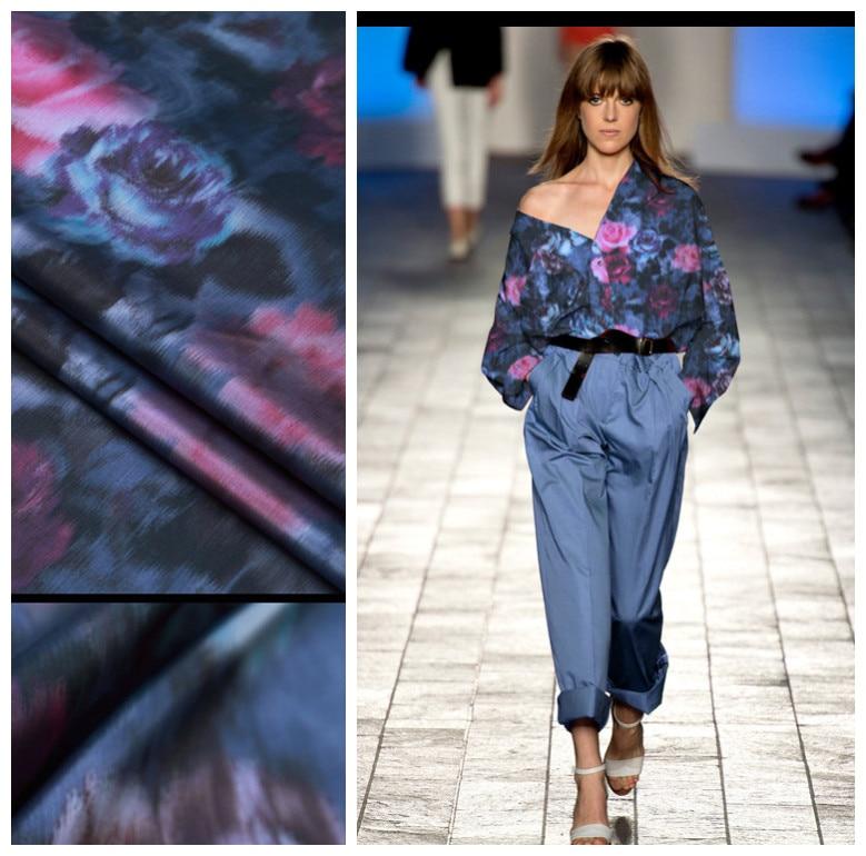 Tissu de taffetas de soie ultra-mince Roses tissu de soie mélangé robe vêtements tissu de soie naturelle en gros tissu de soie