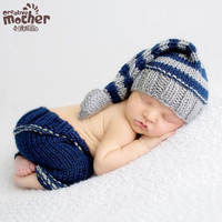 Infant Photography Prop Cute Boys Costume Handmade Cotton Yarn Baby Sets Newborn Baby Hats +shorts